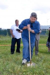 Neale Sheneman, one of the grandsons of our founding Pastor, broke the ground for our youth building.