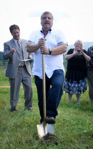 Howard Hansen, Youth Director, gave his vision as he broke ground.
